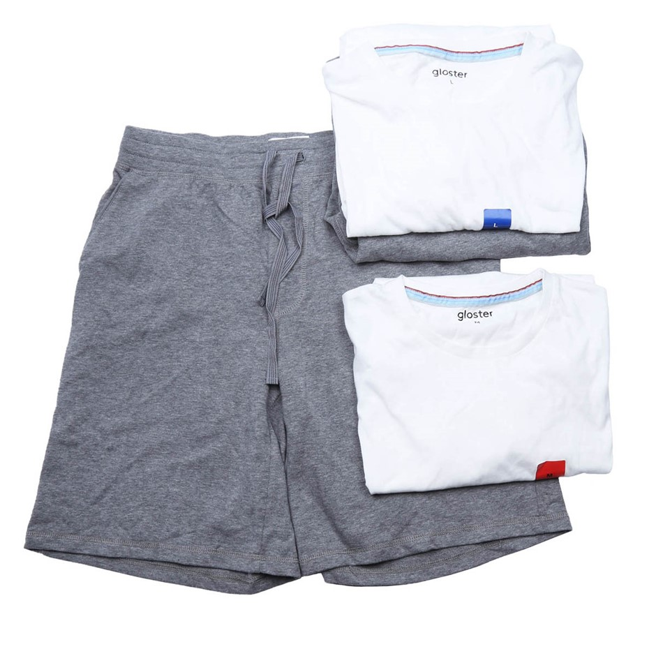 4 x Assorted GLOSTER Men`s Sleepwear Top & Shorts, Size M/L, Cotton, White/