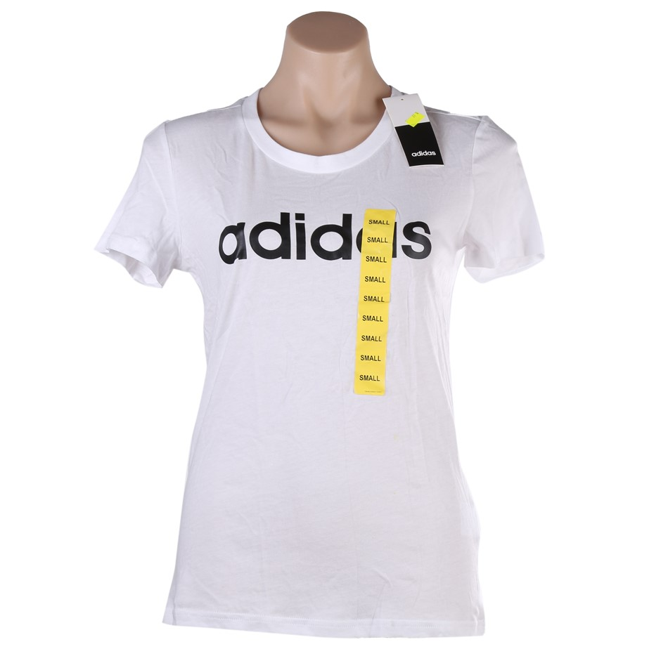 ADIDAS Women`s Essential Linear T-Shirt, Size L, 100% Cotton, White/Black.