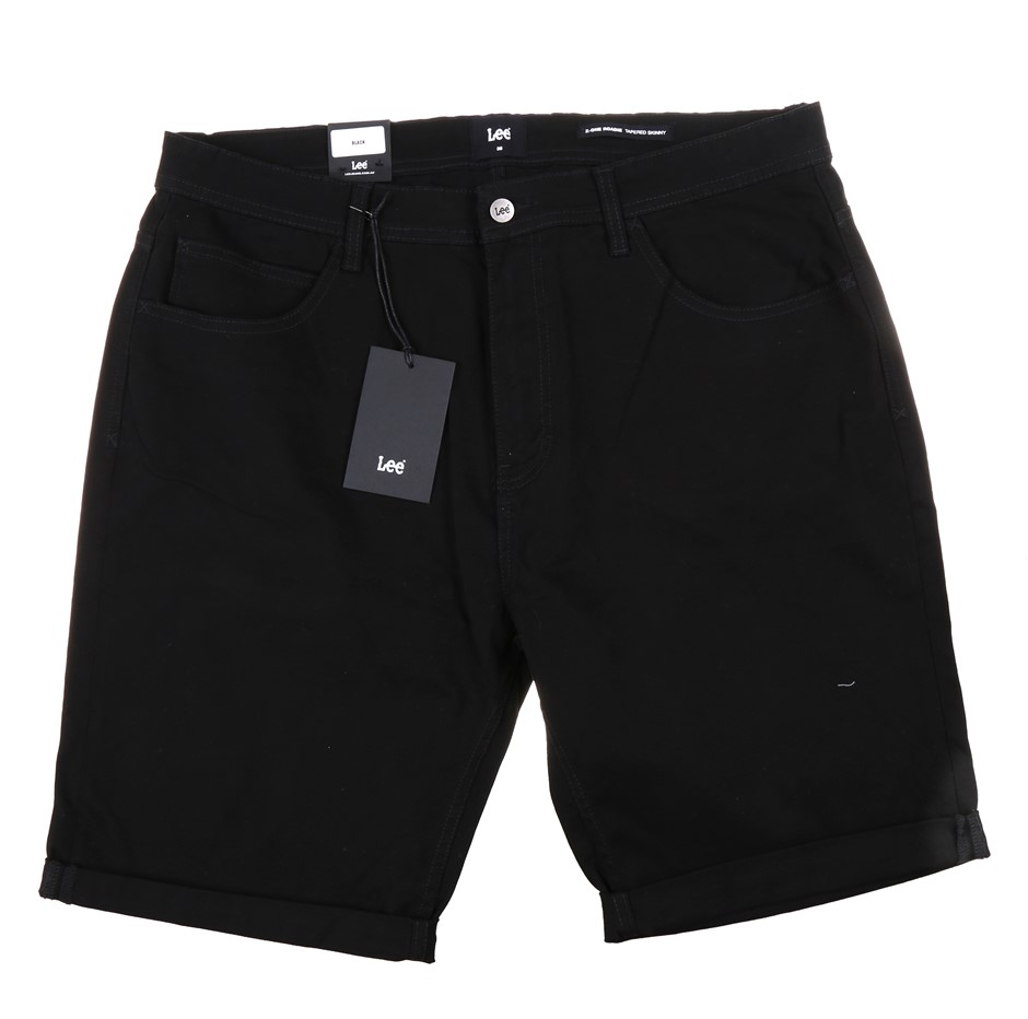 LEE Men`s Tapered Skinny Chino Shorts, Size 38, Cotton/ Elastane, Black. (S
