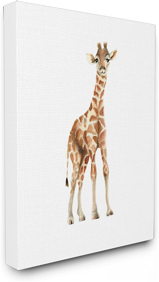 THE KIDS ROOM BY STUPELL 24 x 30 Inches Baby Giraffe Canvas Wall Art, Timbe