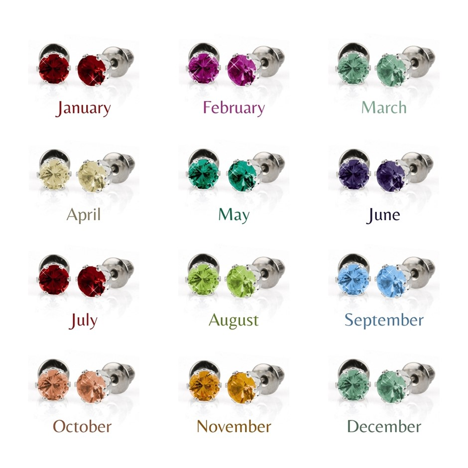 BULK PACK - 12 x Birthstone Coloured 5mm Earrings - Great Stocking Filler!