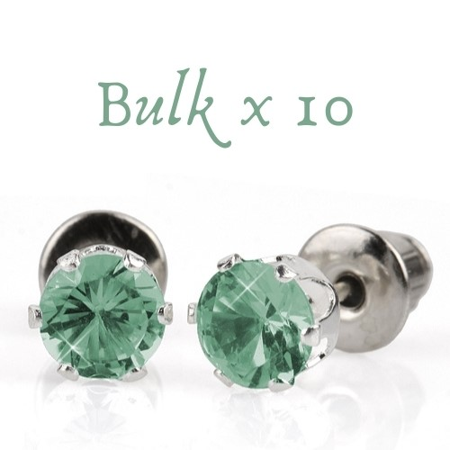 BULK PACK - 10 x 5mm Birthstone Earrings (March) - Great Gift Idea
