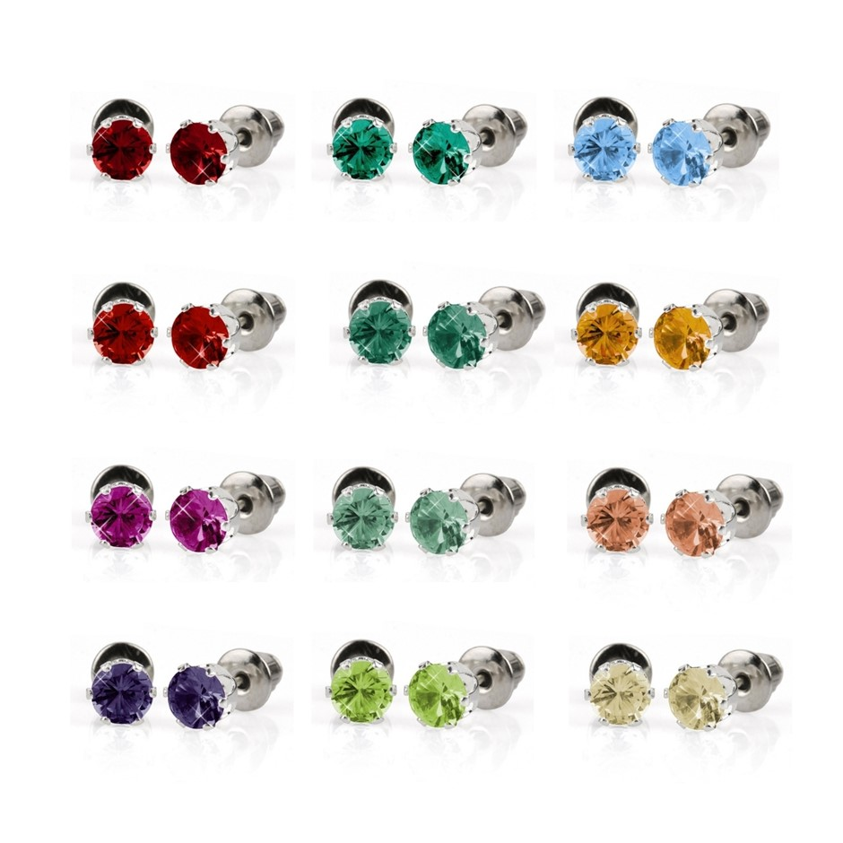 BULK PACK - 12 x Coloured 5mm Stud Earrings - Great Gift Idea!