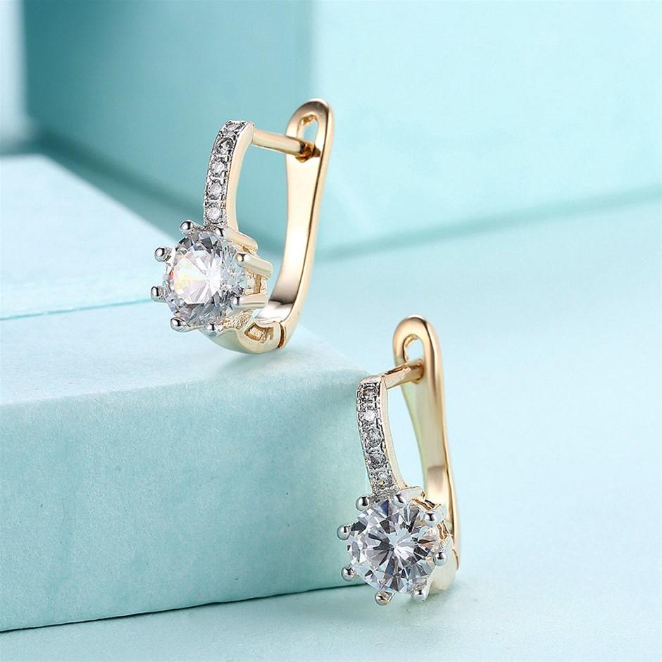 Elegant 18K Gold Filled Huggie Hoop Diamond Earrings With Zircon Crystal