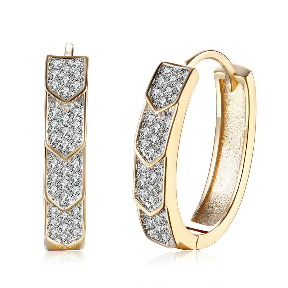 Elegant 18K Gold Filled 5mm CZ Crystal Huggie Hoop Earrings