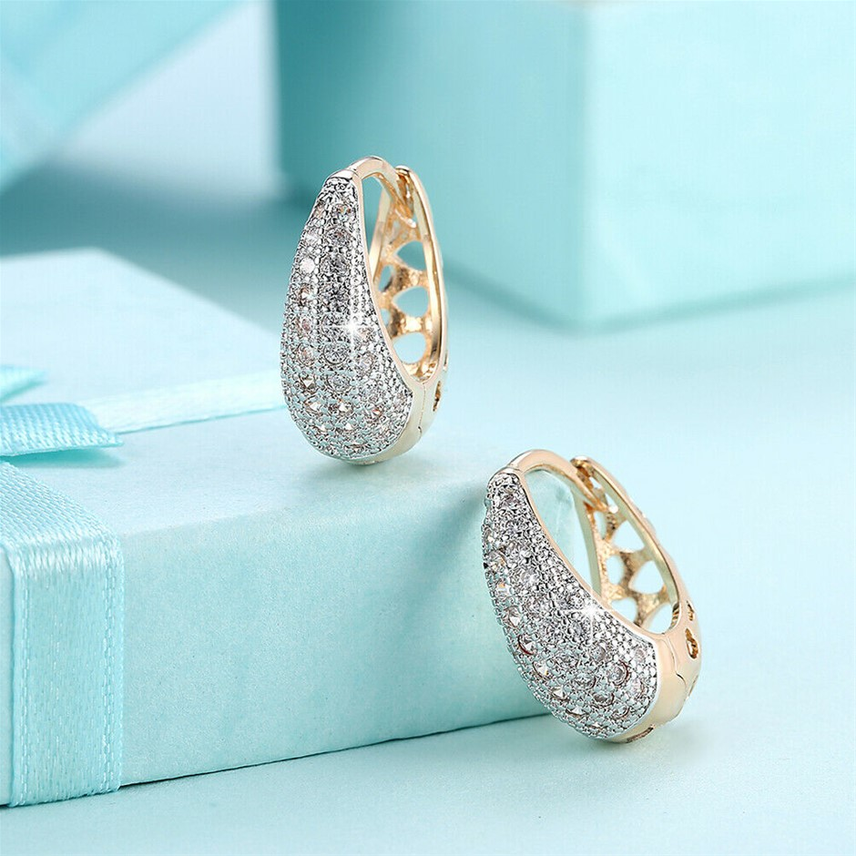 Elegant 18K Gold Filled CZ Crystal Tear Drop Huggie Hoop Earrings