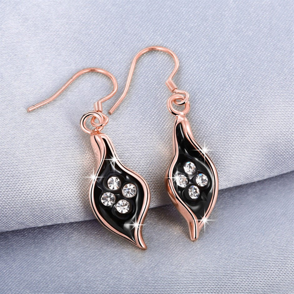 18K Rose Gold Filled Clear Crystal Black Oil Drip Leaf Dangly Earrings