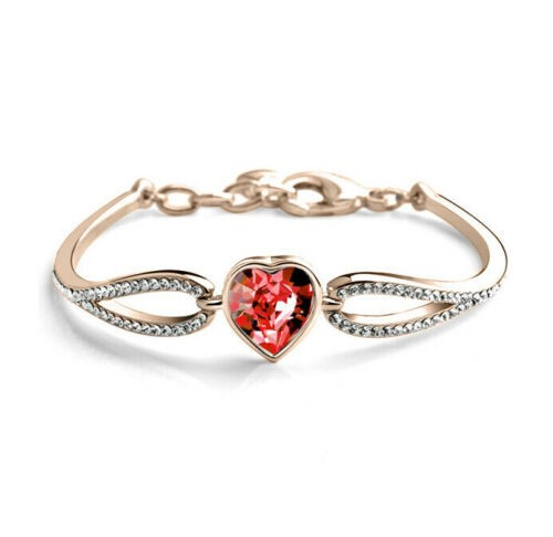 18K Rose Gold filled Love Heart Crystal Pave Clear CZ Crystal Bangle