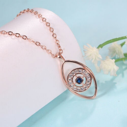 Women's 18K Rose Gold filled Blue Crystal Turkish Evil Eye Pendant