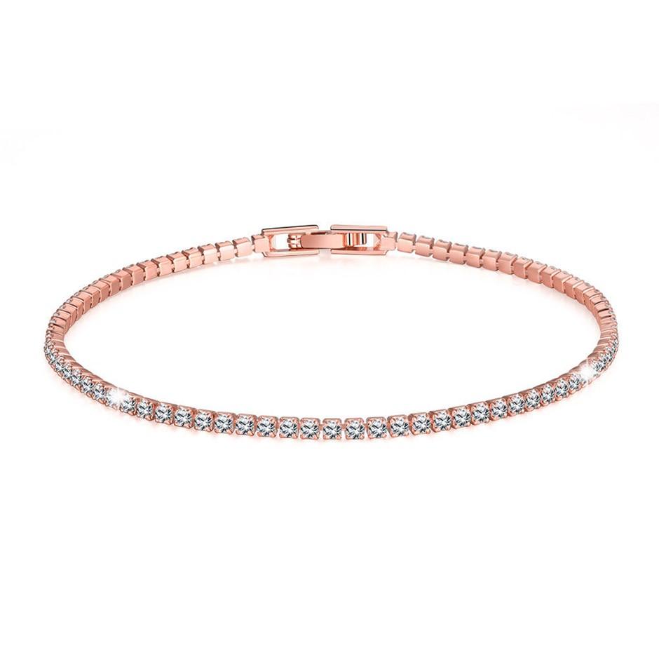 18K Rose Gold Filled Tennis Bracelet Bangle - Clear Cubic Zircon Crystal