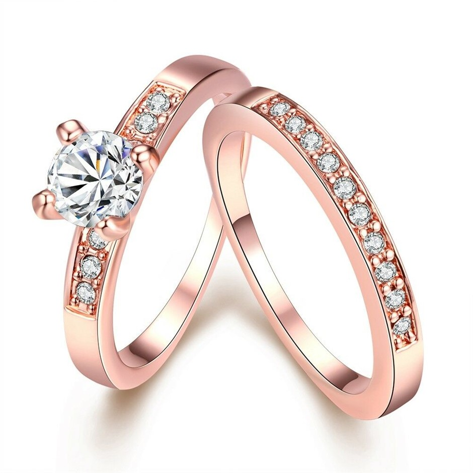 Classic 18K Rose Gold Filled Clear 0.5Ct CZ Crystal Wedding Ring Set