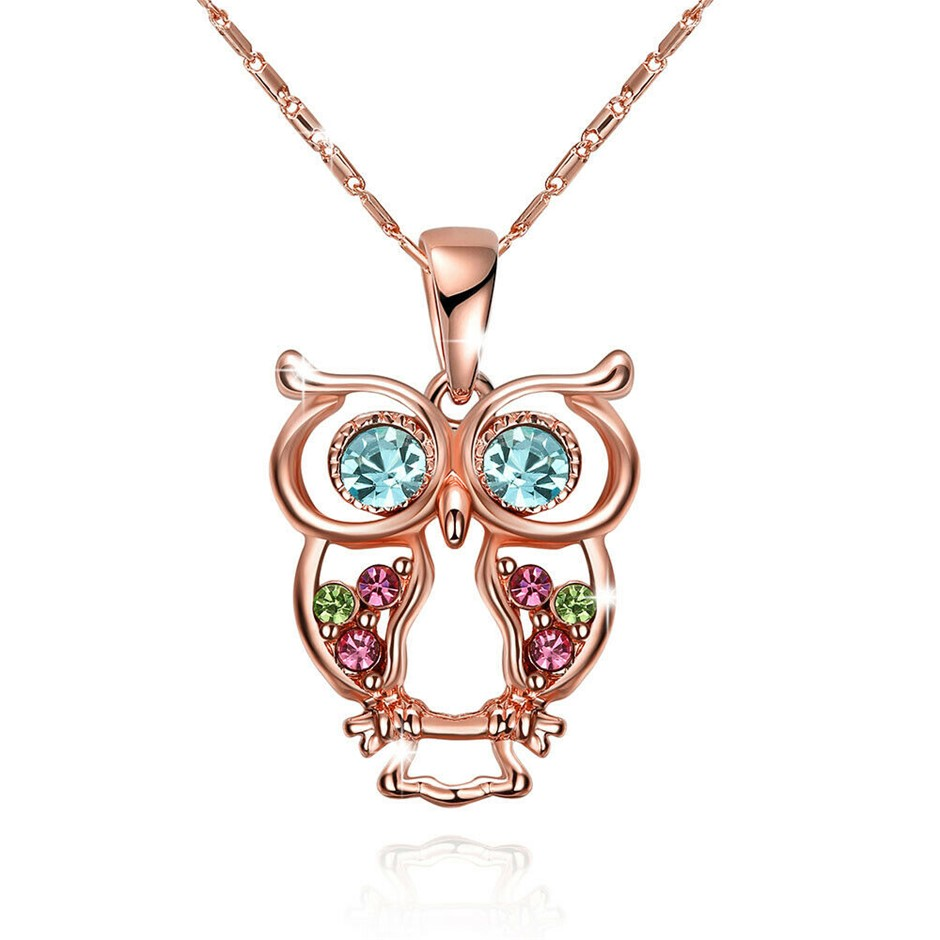 Lovely 18K Rose Gold Filled Colorful Crystal Owl Pendant Necklace