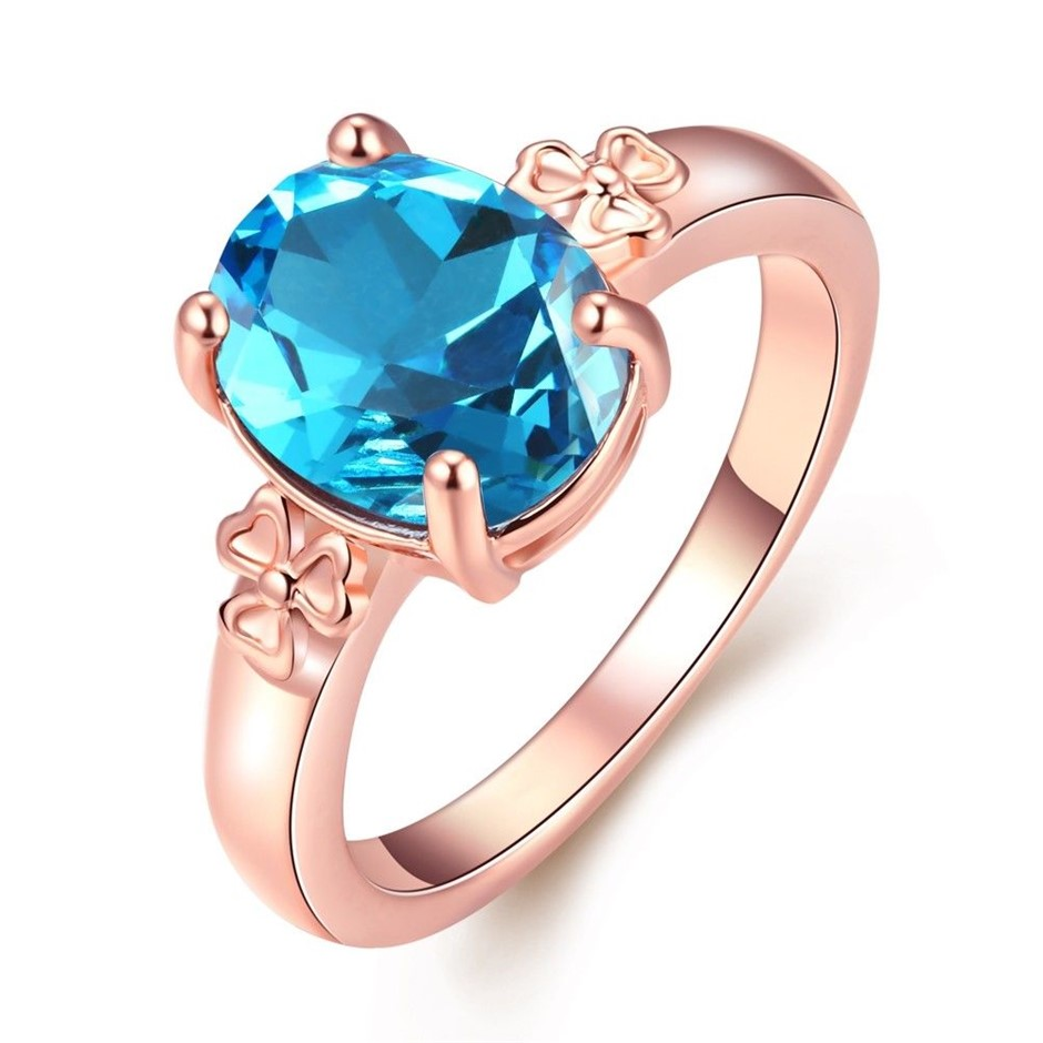 Classic 18K Rose Gold Filled Blue CZ Crystal Wedding Ring