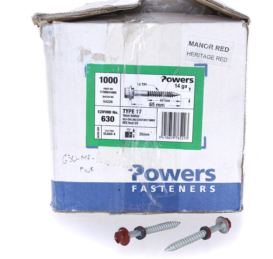 Pack of 1000 x POWERS Self Drilling Timber Screws 65mm x 14G, Hex Head with