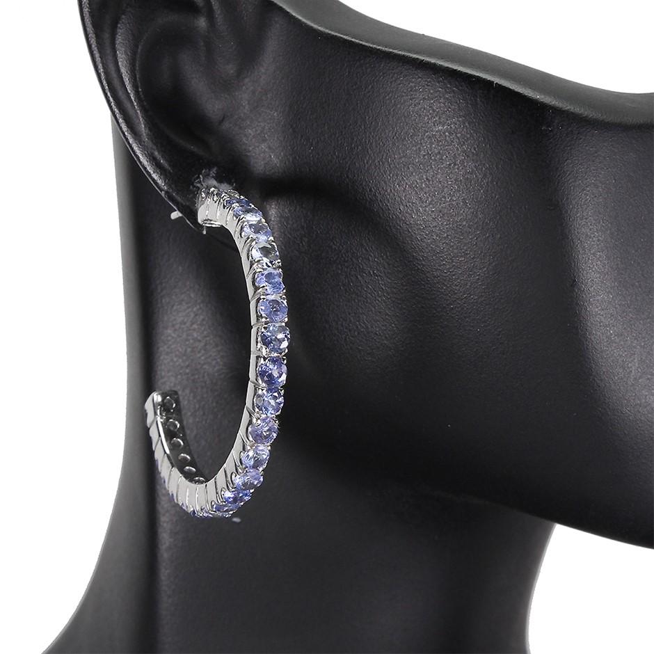 Striking Genuine Tanzanite Hoop Earrings
