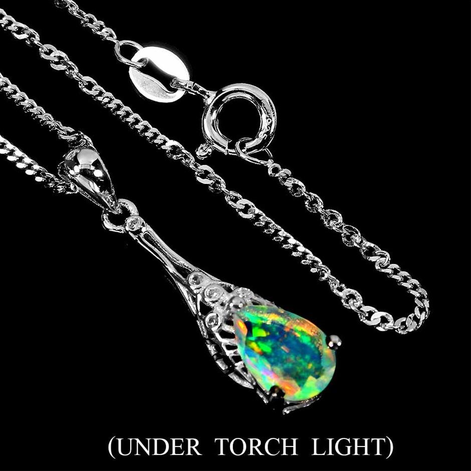 Unique Genuine Fire Opal Pendant & Chain.
