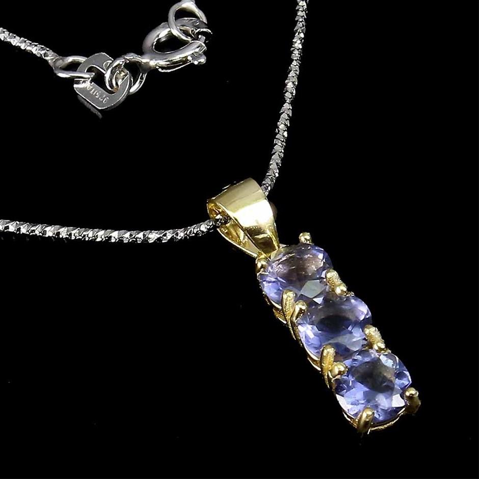 Gorgeous Genuine Iolite Pendant & Chain