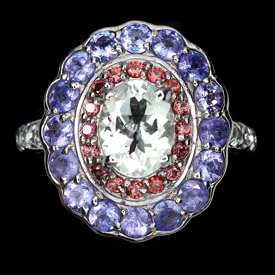 Beautiful Genuine Tanzanite Aquamarine & Sapphire Ring