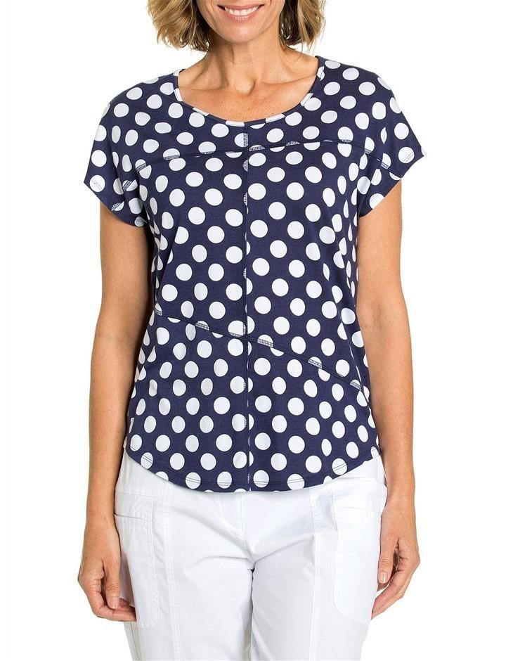 YARRA TRAIL Shirt Sleeve Spot Tee. Size XL, Colour: Cardinal Blue. 50% Cott
