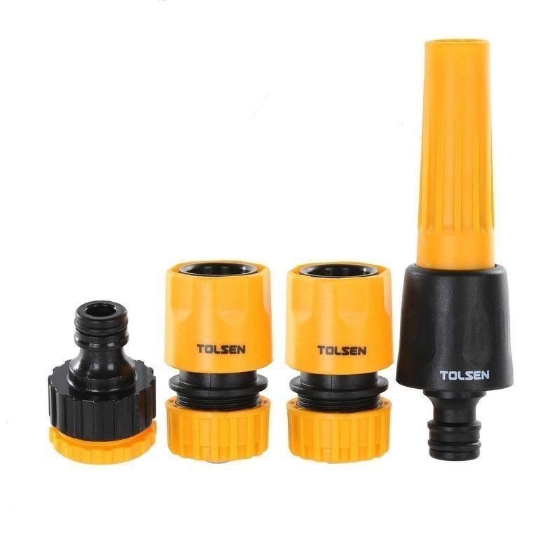 2 x TOLSEN 4pc 1/2ins Hose Connector Sets, Comprising; Adjustable Nozzle, T