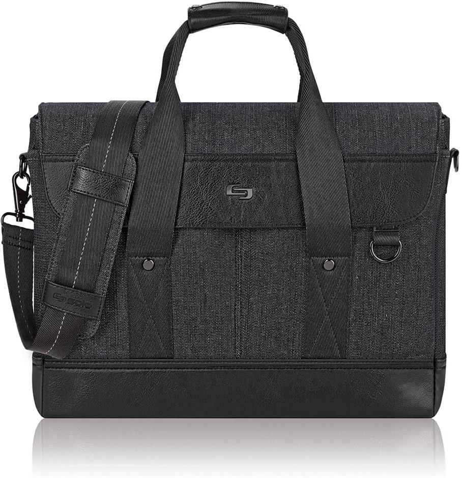 SOLO Sullivan 15.6 Inch Hybrid Laptop Briefcase Messenger, Black. Buyers No