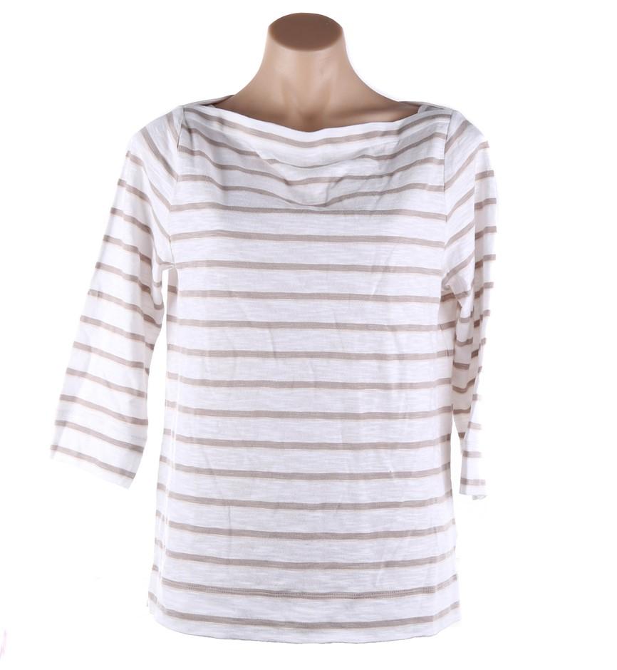 2 x SPORTSCRAFT Women`s Carol Stripe T-Shirts, Size M, 100% Cotton, White/N