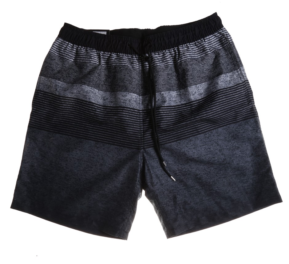 SIGNATURE Men`s Swim Shorts, Size L, 100% Polyester, Black Textured Ombre S