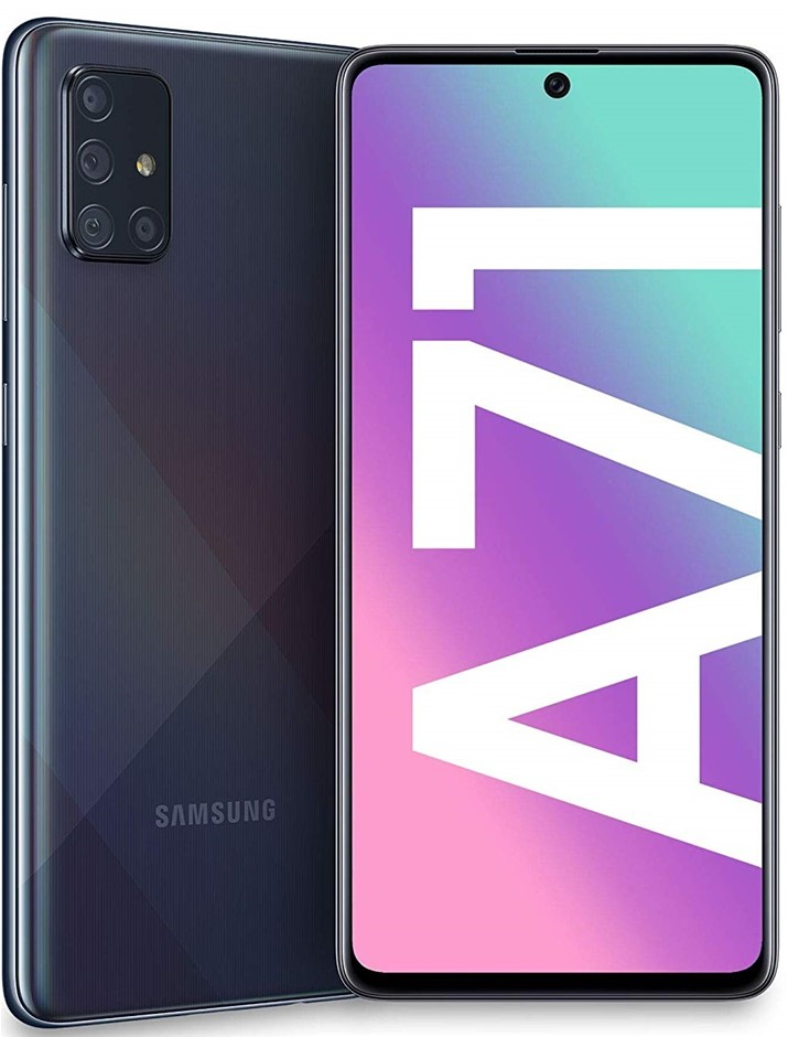 SAMSUNG A71 Mobile Phone, 128GB, Prism Crush Black. Complete with Charger.