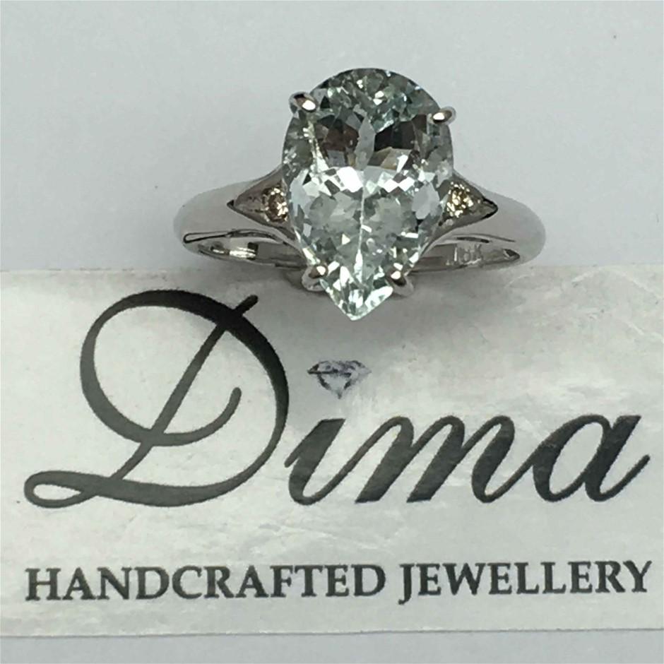 9ct White Gold, 2.40ct Aquamarine and Diamond Ring