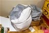 3x White & Grey Bean Bag Seat