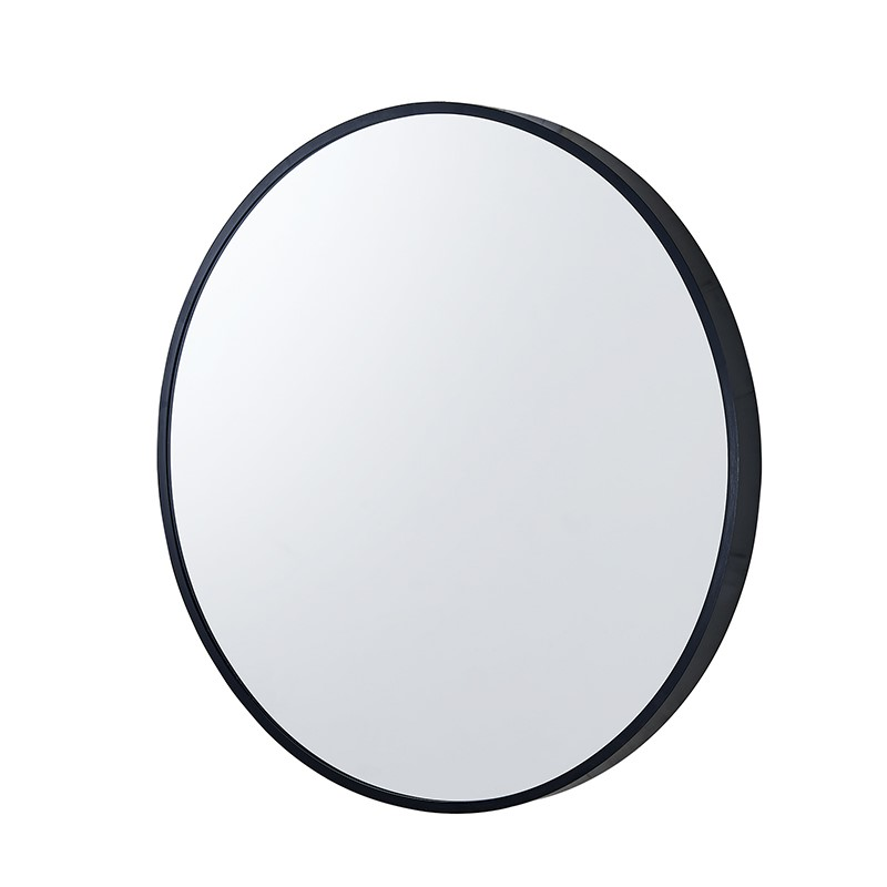 600x600x40mm Black Aluminum Framed Round Bathroom Wall Mirror with Brackets