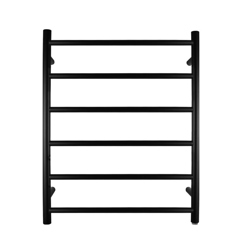 620x600x120mm Round Black Electric Heated Towel Rack 6 Bars Stainless Steel