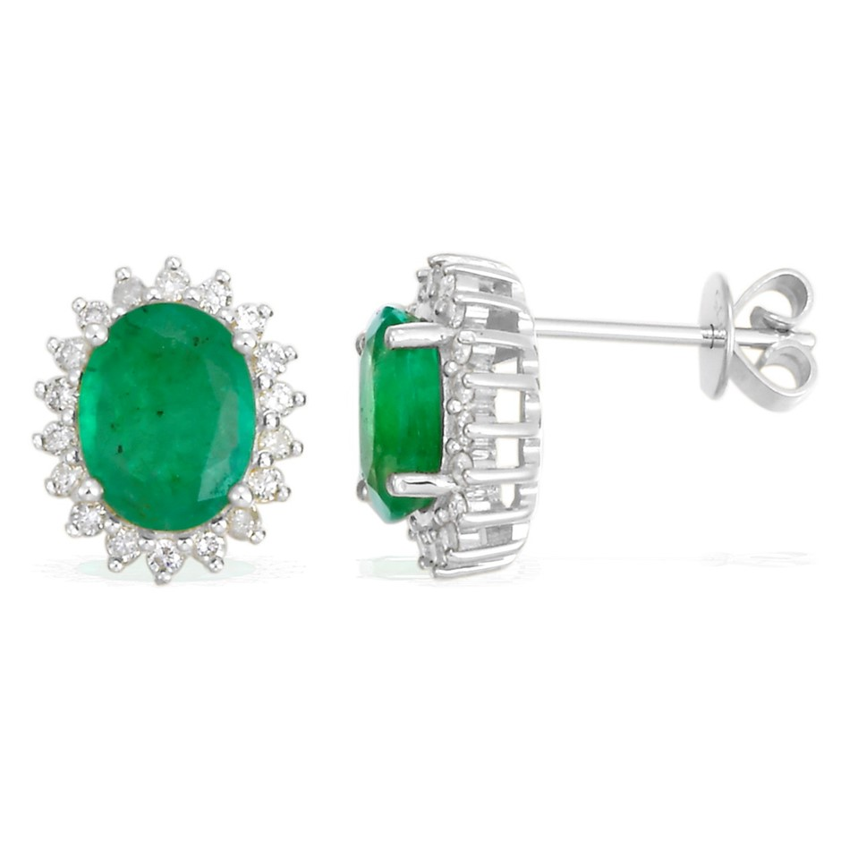 9ct White Gold, 2.25ct Emerald and Diamond Earring