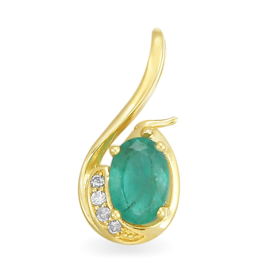 9ct Yellow Gold, 0.50ct Emerald and Diamond Pendant