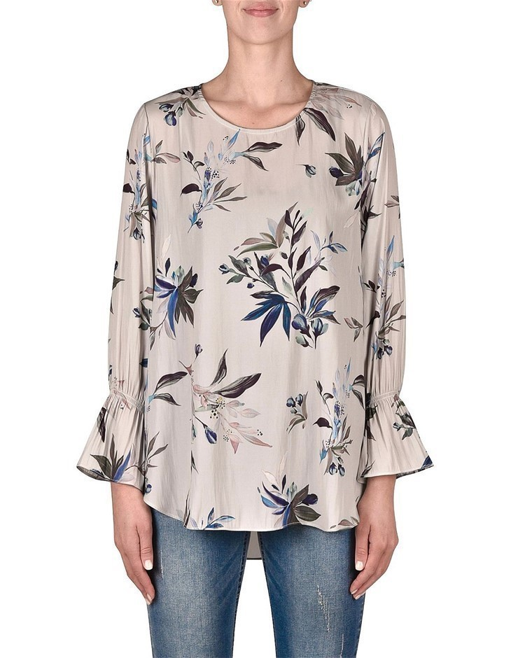 JUMP Sketchbook Floral Printed Blouse. Size 14, Colour: Silver. Polyester.