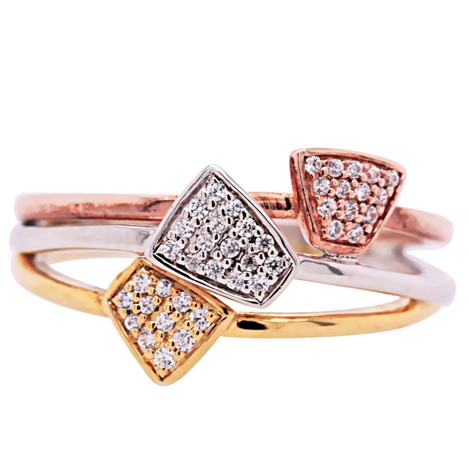 Rose & Yellow Gold Plated Sterling Silver White CZ Triple Abstract Ring.