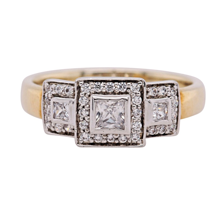 Yellow Gold Plated Sterling Silver Triple White Princess Cut CZ Ring.
