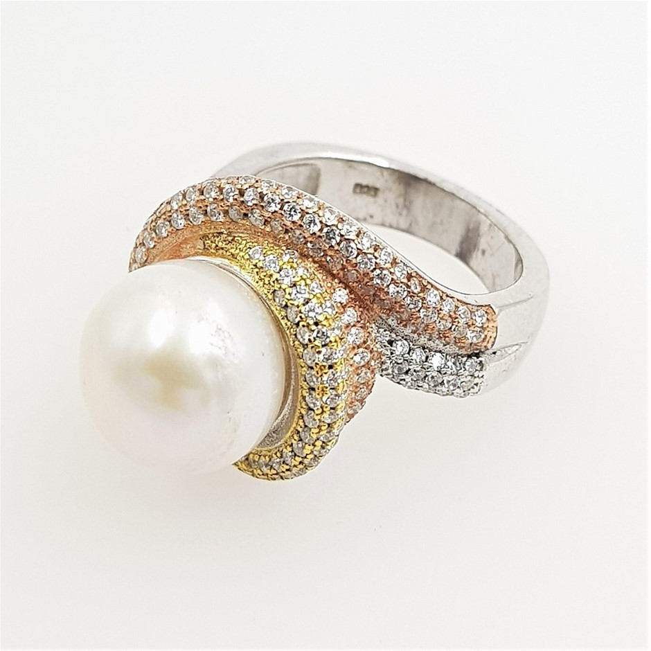 Rose & Yellow Gold Plated Sterling Silver Pearl CZ Ring.