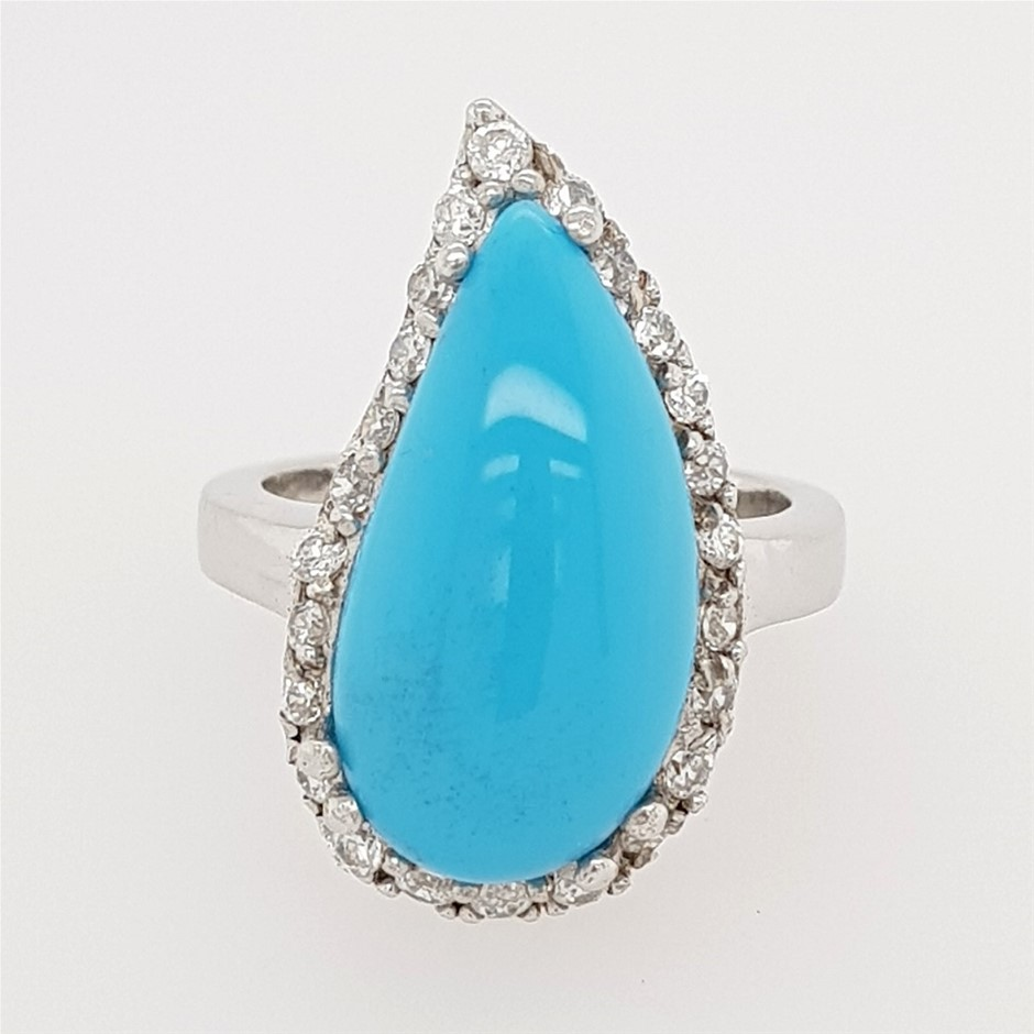 Sterling Silver Blue Stone & White CZ Dress Ring.