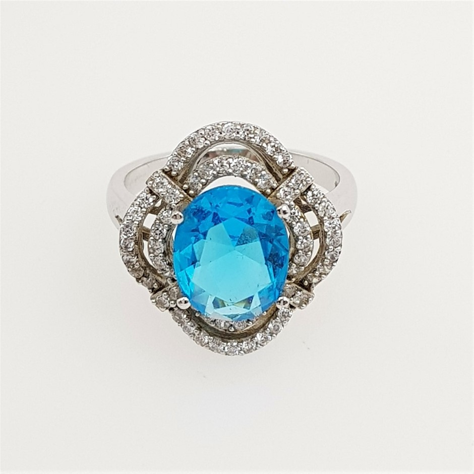 Sterling Silver Blue & White CZ Dress Ring.