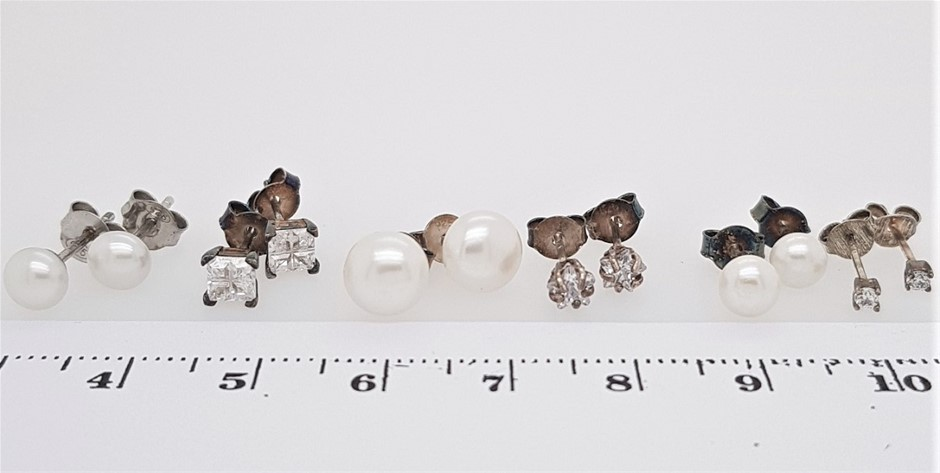 Lot of 6 Pairs Sterling Silver mixed Crystal & Pearl Studs.