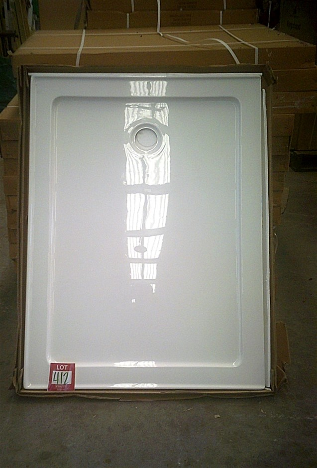 Shower base. Fibreglass/Acrylic with white top coat finish.