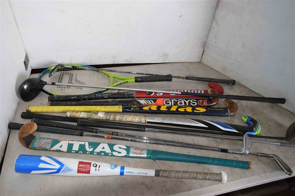 Lot of Assorted Bats and Golf Clubs