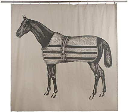 THOMAS PAUL Equestrian Shower Curtain, Flax fabric, Hand screened print. Bu