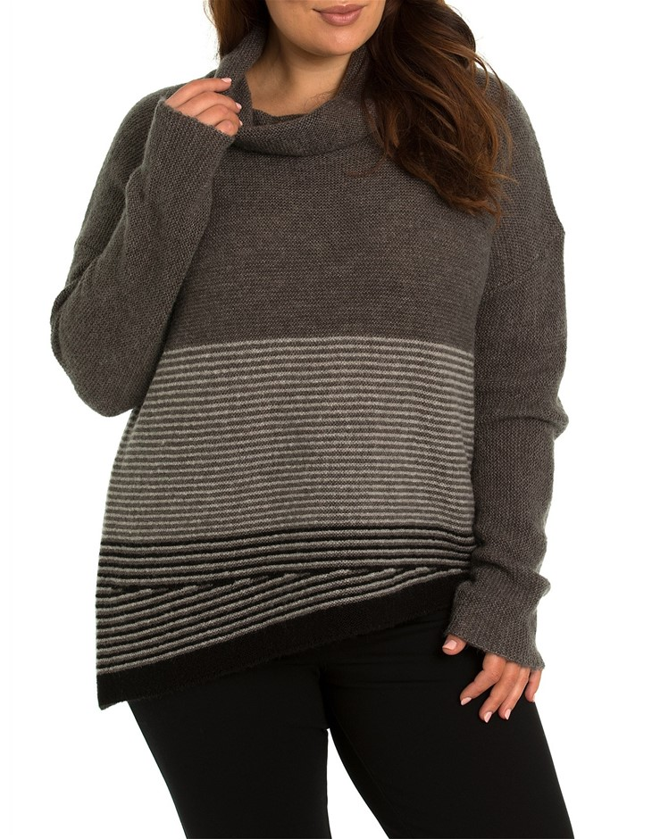 YARRA TRAIL PLUS Mixed Knit Jumper. Size XL, Colour: Grey Mix. Soft Wool Bl