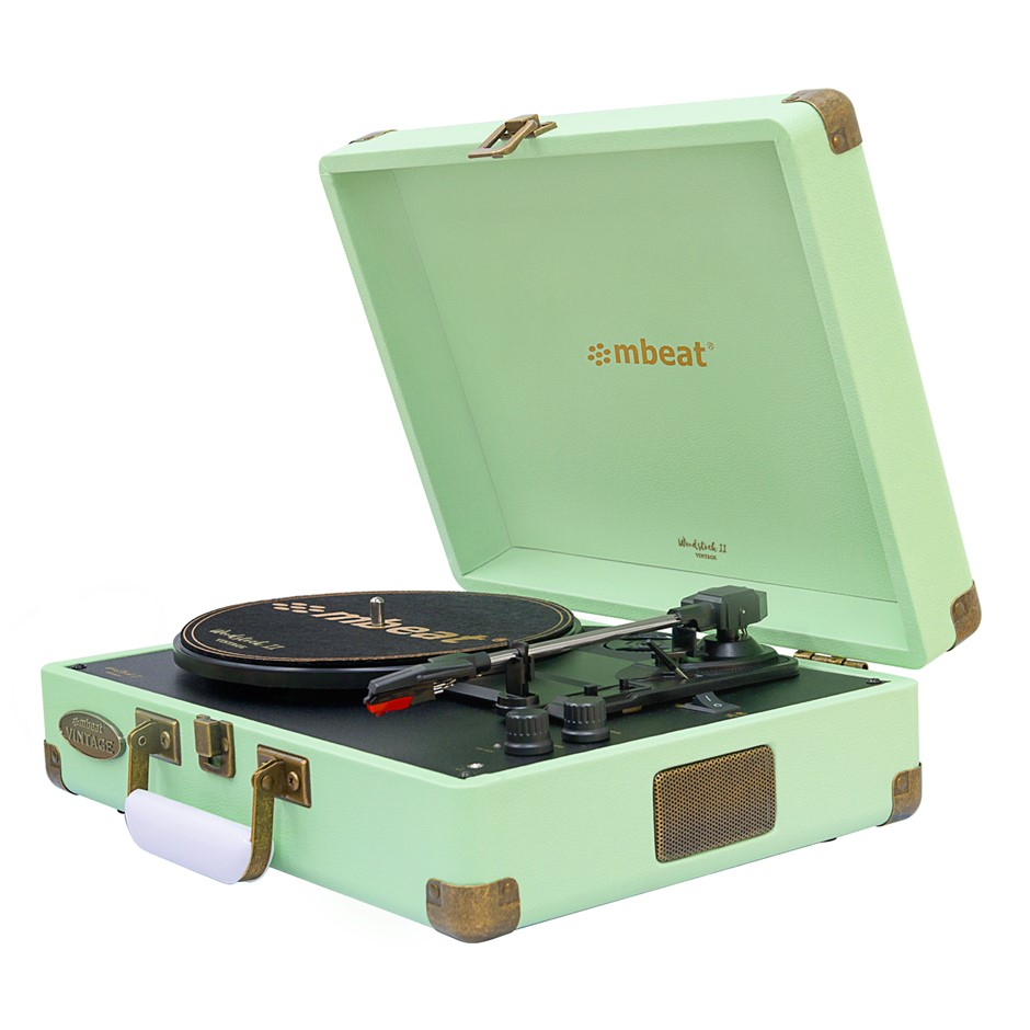 mbeat Woodstock 2 Tiffany Green Retro Turntable Player