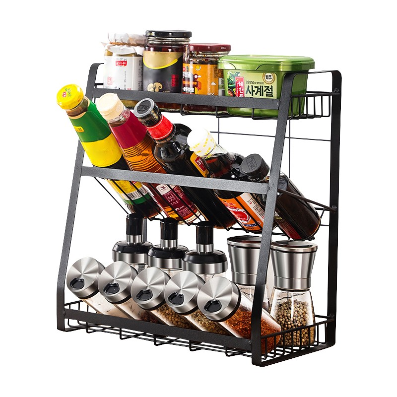 Kitchen Spice Rack Storage Organizer Condiment Storage Cabinet Shelf 3 Tier
