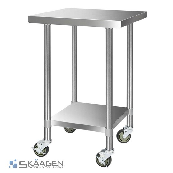 Unused 914mm x 610mm Stainless Steel Bench Including 4 x Casters