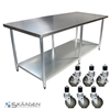 Unused 2134mm x 610mm Stainless Steel Bench Including 6 x Casters