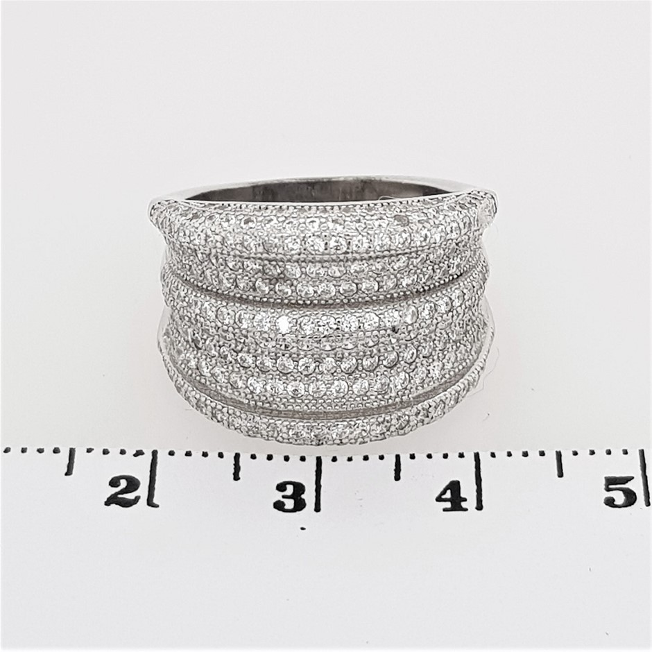 Sterling Silver White CZ Wide Dress Ring.